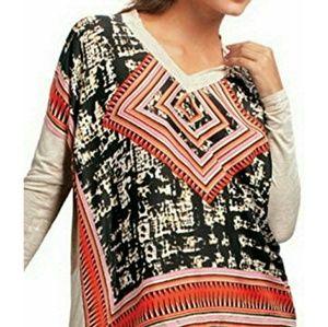 Cabi Silk Oversized Aztec Print Long Sleeve
